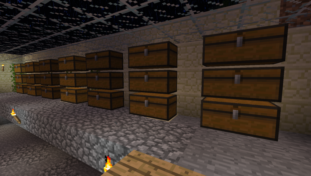 room with 21 chests