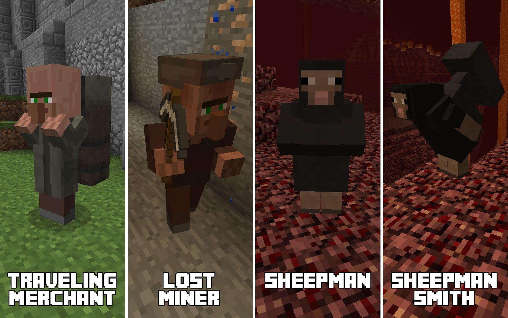 Primitive Mobs Minecraft Mods - Villager skin fur minecraft pe