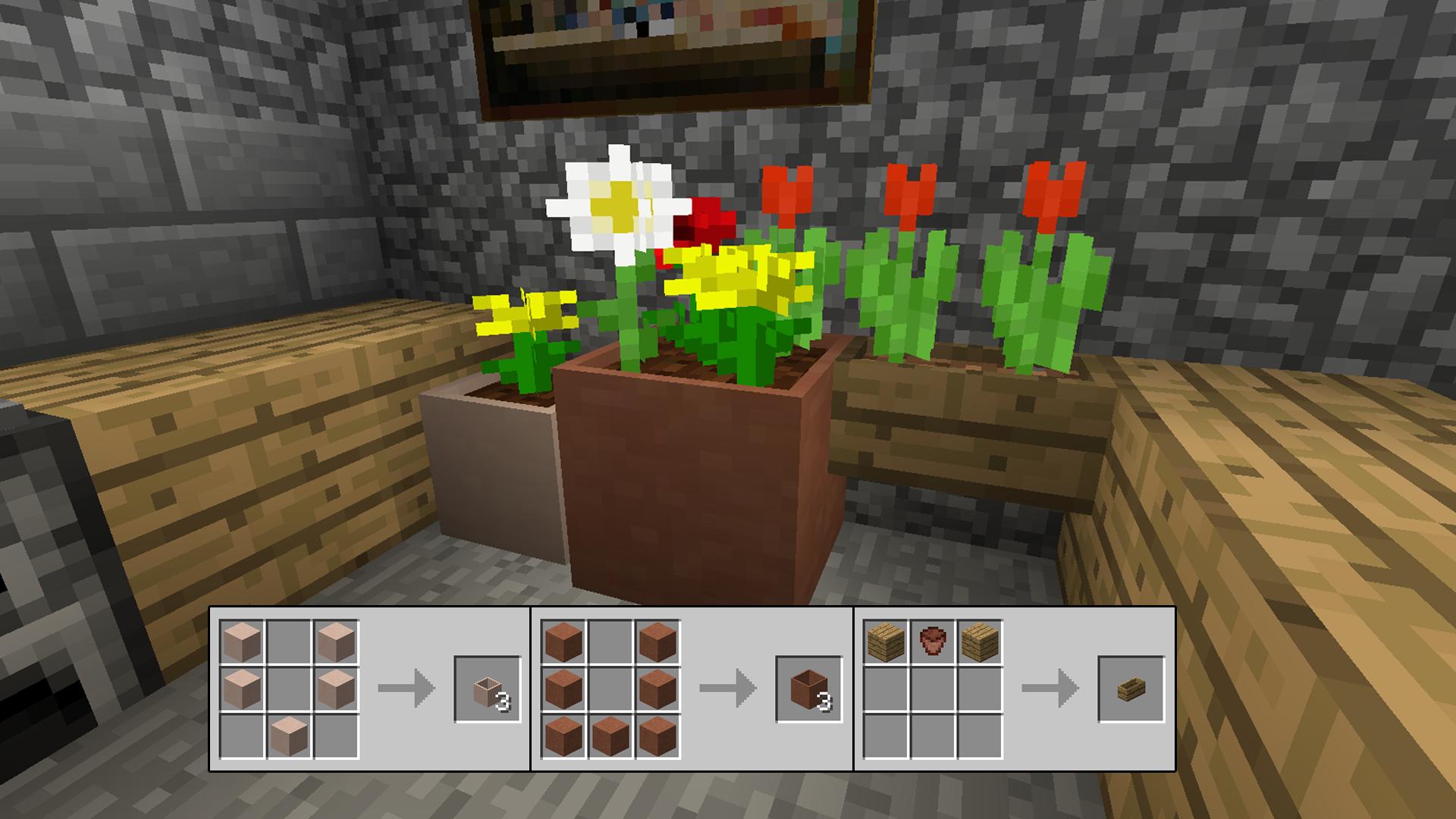 Minecraft How To Craft Flower Pot