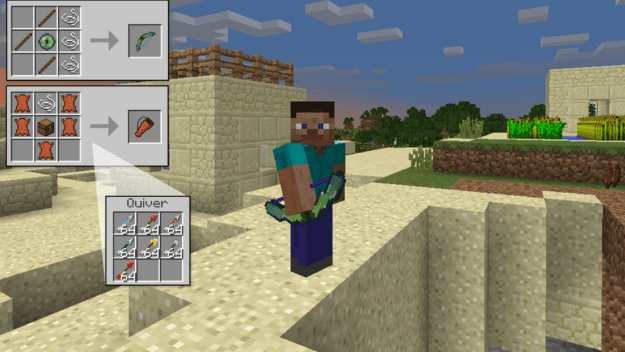 how to make bow and arrows in minecraft